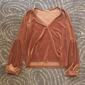 Madewell gold long sleeve velvet shirt